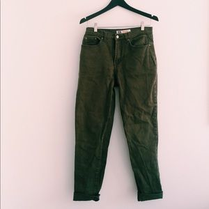 faded glory olive green boyfriend jeans